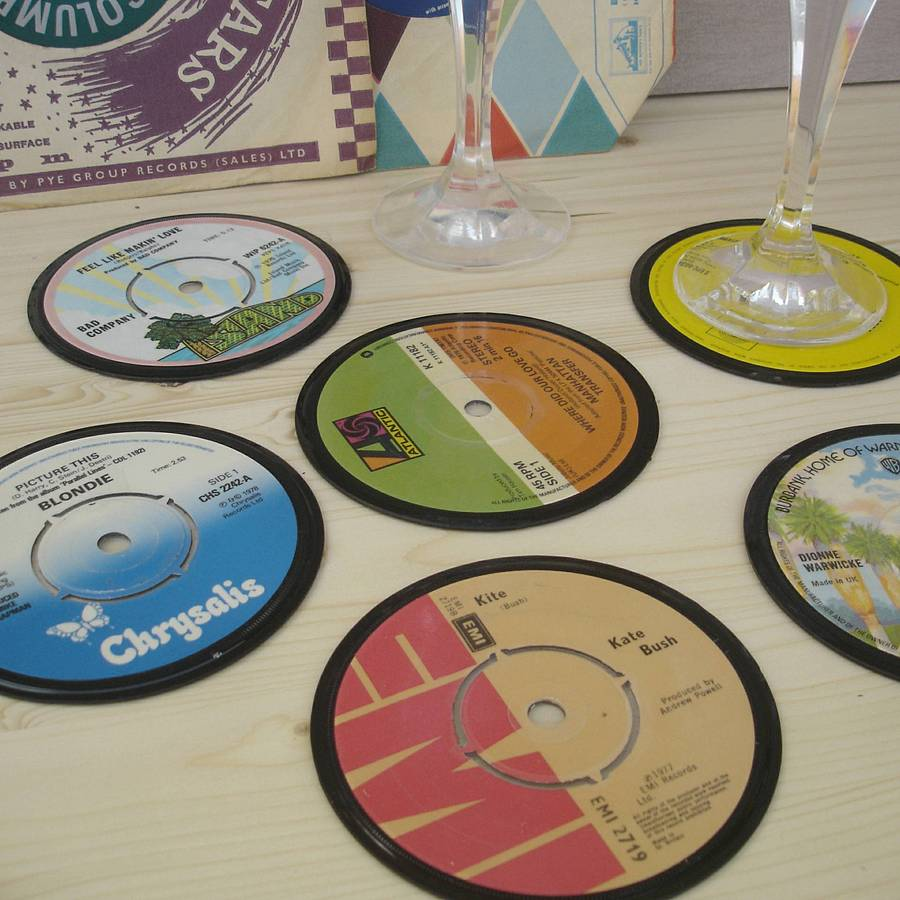 Recycled Vinyl Record Coasters By Vinyl Village Eco Gifts