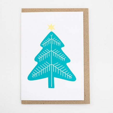 Turquoise Christmas Tree Christmas Card