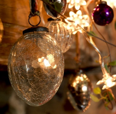 Clear Crackle Glass Baubles