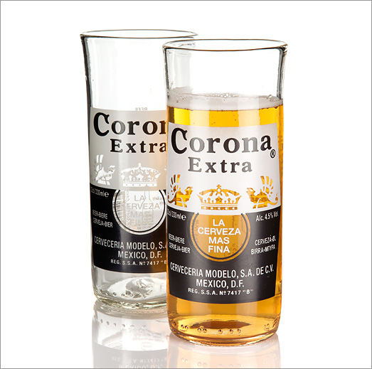 Recycled corona beer bottle glasses by whos glass eco gifts for How to make corona glasses