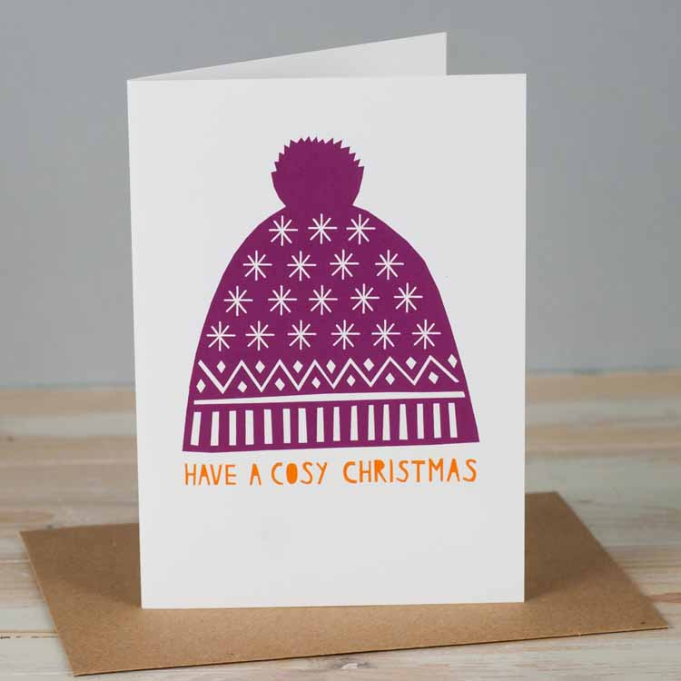 Have a cosy Christmas, purple bobble hat Christmas card. A cute card