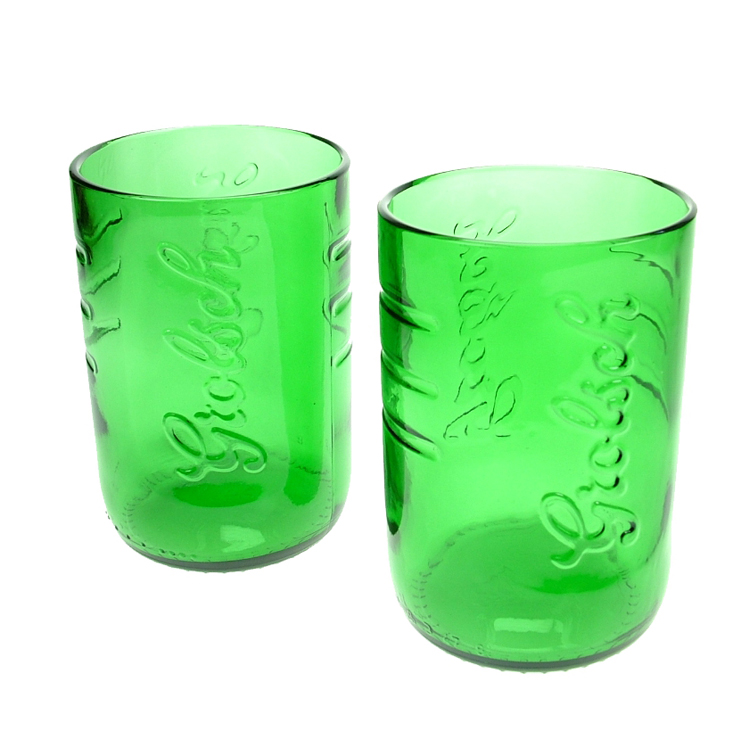 Glasses made from beer bottles by green glass eco gifts for Alcohol bottles made into glasses