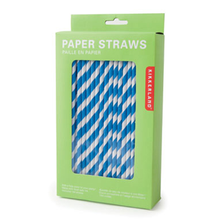 Kikkerland Striped Paper Straws Kikkerland Striped Paper