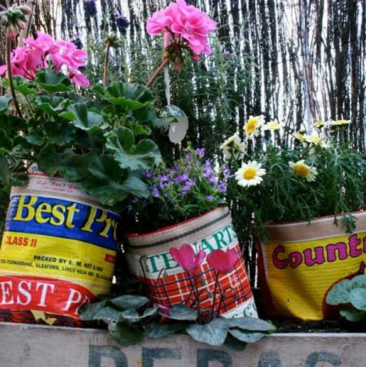 Recycled Plant Pot Covers. Plant Pot Covers made from Vegetable Sacks by Lucky Bird   Eco Gifts