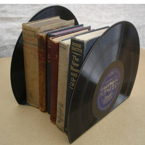 Large Recycled Vinyl Record Bookends