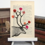 Stags with Roses Vintage Print