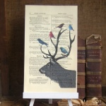 Stag with Birds Vintage Print