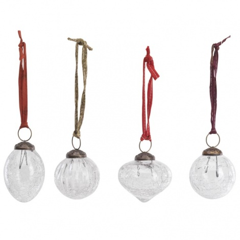 Snow Drop Glass Christmas Baubles