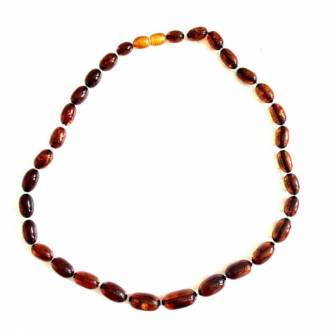 Oval Amber Bead Necklace