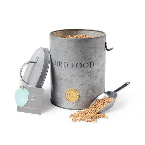 Galvanized Bird Food Tin