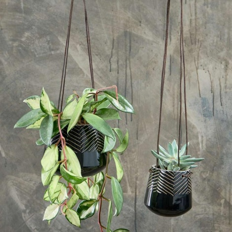 Kavari Black Hanging Planter