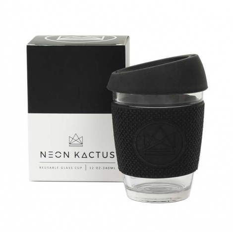 Neon Kactus Black Glass Reusable Cup