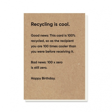 Recycling Is Cool Rubbish Card
