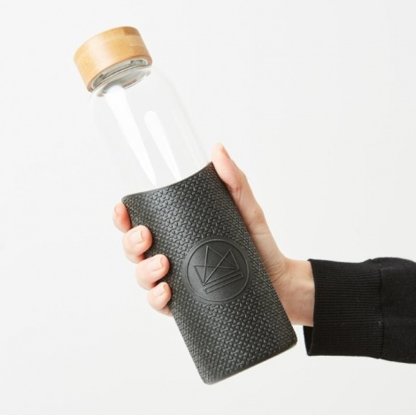 Glass Reusable Drinks Bottle (Black)