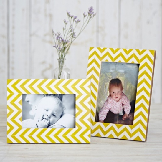 Yellow Chevron Photo Frame