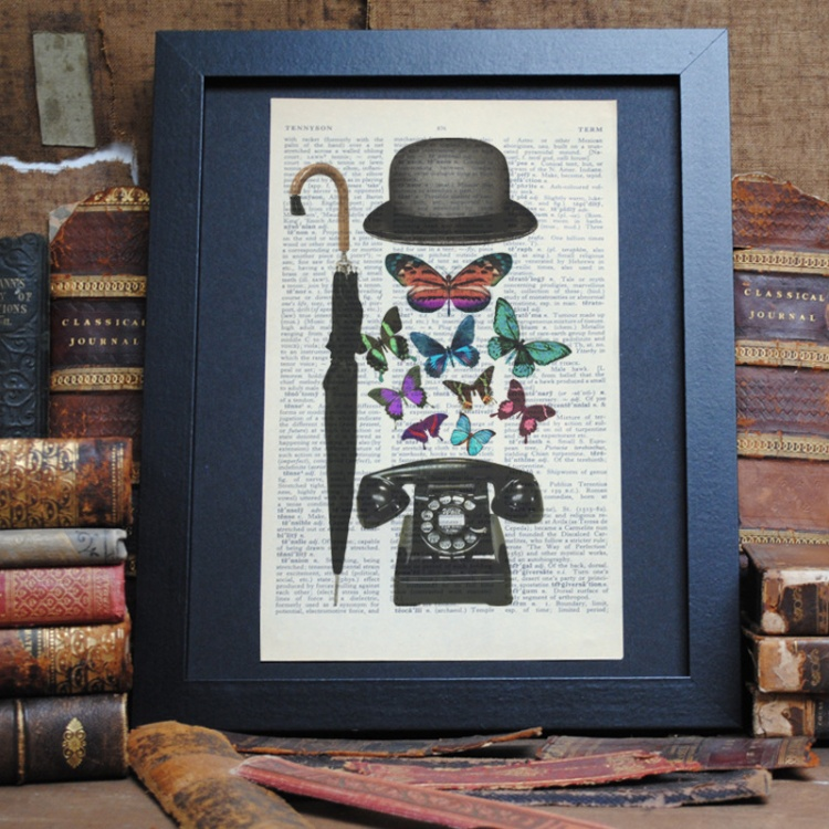 Bowler Hat, Umbrella and Telephone Upcycled Print