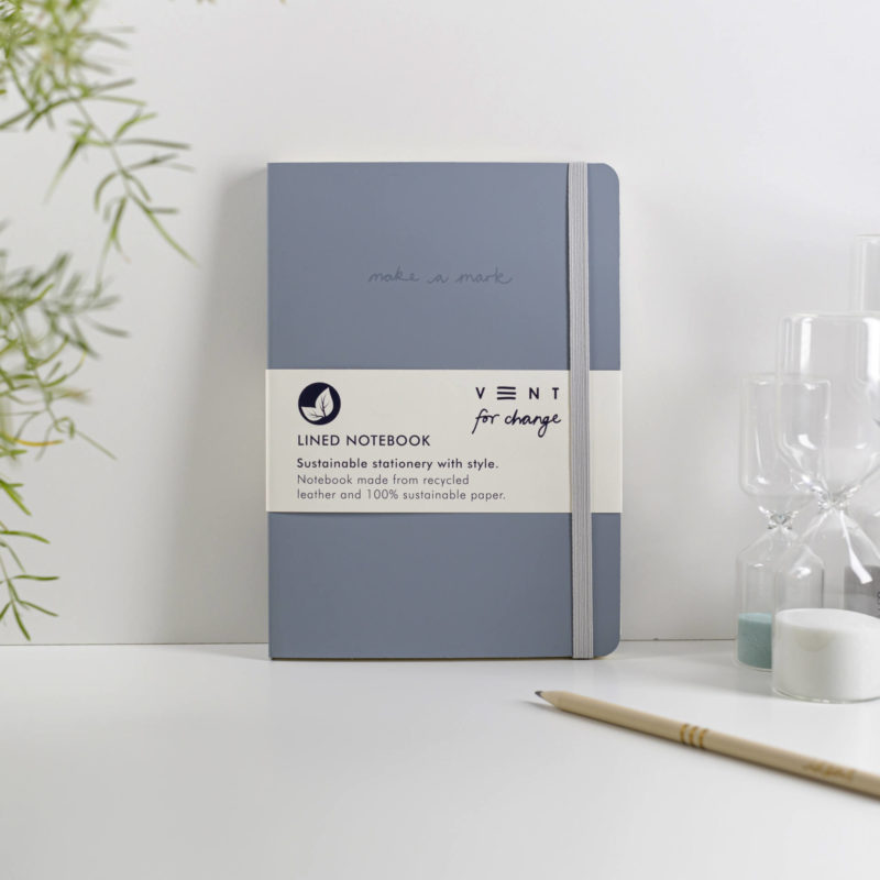 Recycled Leather A5 Lined Notebook – Dusty Blue
