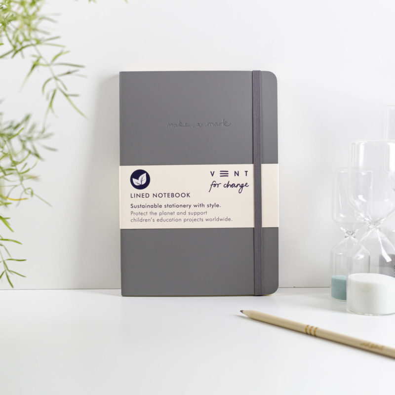 Recycled Leather A5 Lined Notebook – Grey